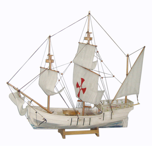 White Antique Wooden Sailing Boat