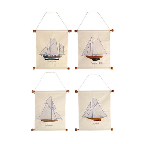NAUTICAL CANVAS WALL HANGING, EMBROIDERY