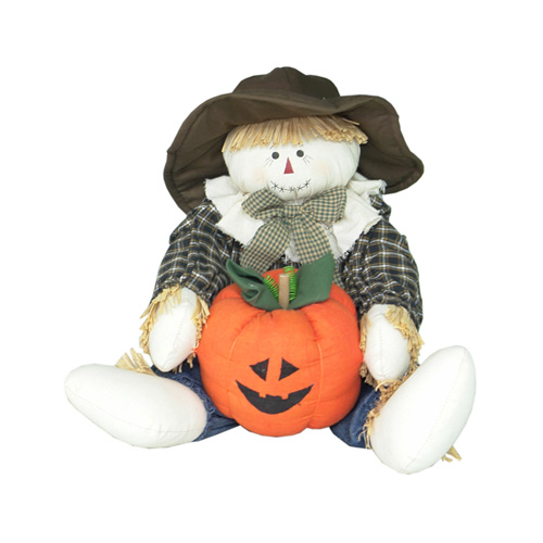 SITTING SCARECROW W/PUMPKIN IN HANDS LARGE